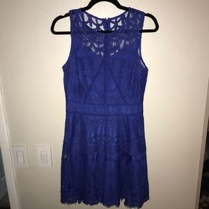 Royal blue cocktail dress.